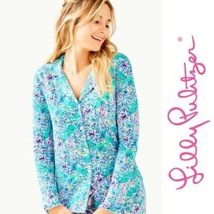 NWT Lilly Pulitzer • Ruffle PJ Button-Up Top, Med